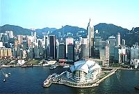 香港・空からみた湾仔の香港コンベンションセンター
