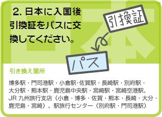 2日本に入国後引き換え証をパスに交換してください。